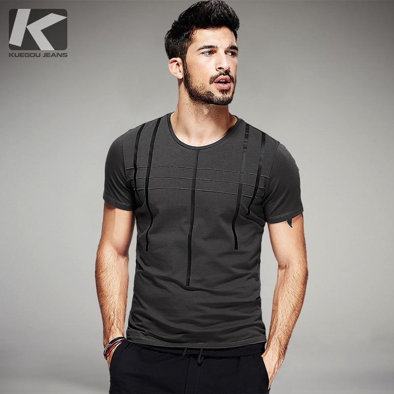 311d653b84d8 Summer 2018 Mens T Shirts Cotton Striped Print Gray Green Black Tops For  Man Short Sleeve