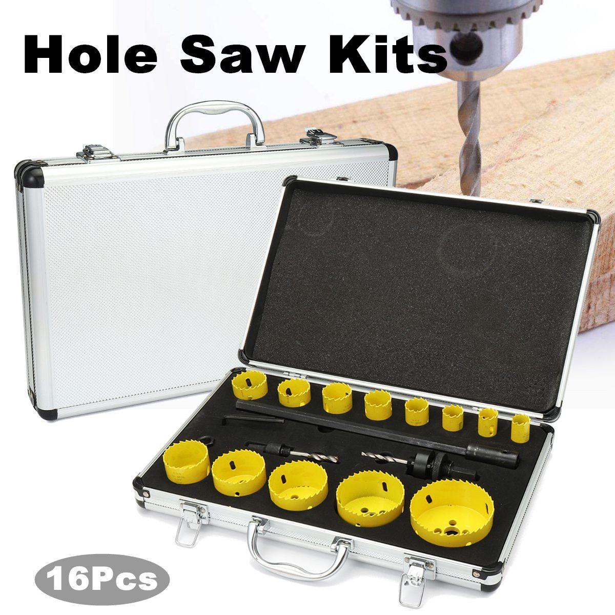 16 pièces M42 trou scie Kits Bits ensemble de coupe perceuse bois métal Cutter boîte outil à main en acier inoxydable bois forets 19-76mm