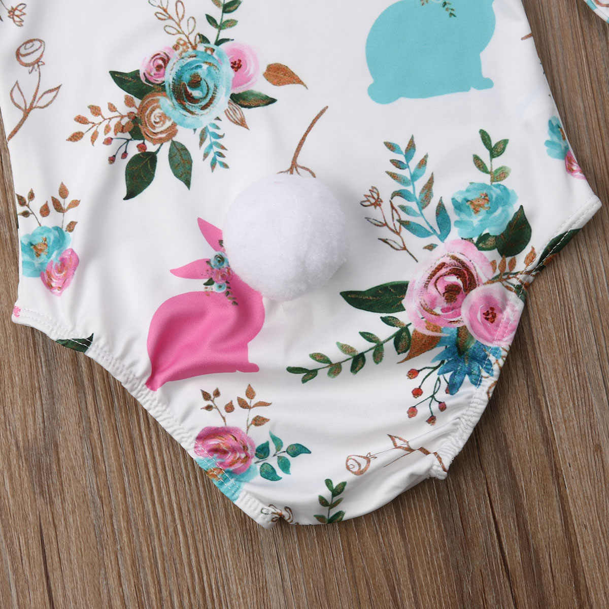 b40a89c390f ... Cute Bunny Newborn Infant Baby Girl Rompers Pom Pom Long Sleeve Flower  Jumpsuit Playsuit For Baby