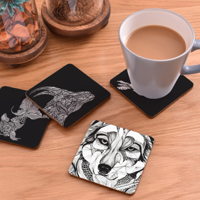 Square Wooden Table Coasters Hot Pad Cork Animal Mat Round Placemat Dining Mats Kitchen