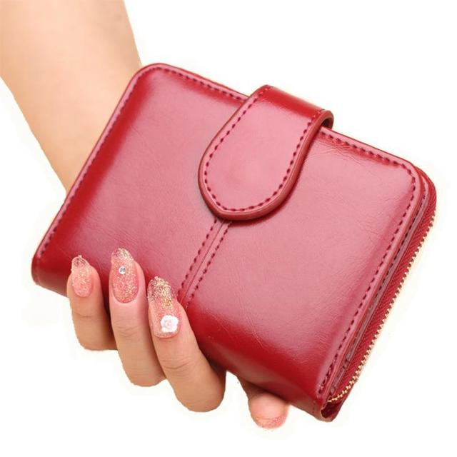 New Short type Zipper Women Wallet PU Leather Buckle Coin Pocket Female Solid Fashion Purse Money Bag