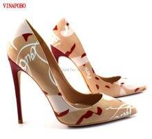 เซนติเมตรส้นสูงผู้หญิงปั๊มที่มีสีสัน รองเท้าส้นสูงส้นปั๊ม Graffiti พิมพ์