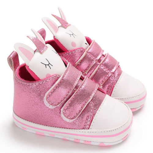 Glossy Unicorn Newborn Baby Kids Boys Girls Sneakers Shoes Cute Cartoon First Walkers Batman Lace-Up Soft Sloe Anti Slipped
