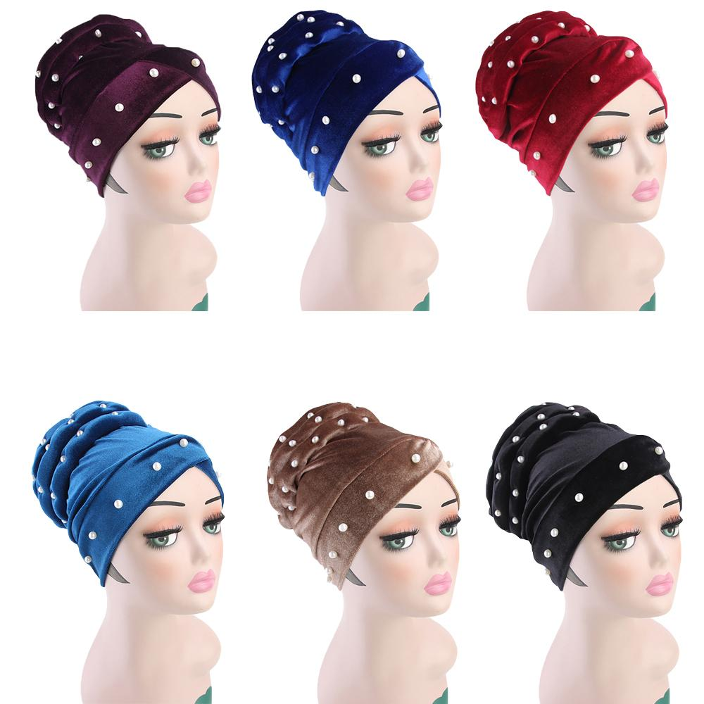 Women Velvet Muslim Cap Turban Beads Headscarf With Pearl Middle East Bandanas Hijab India Cap Autumn Winter Head Wrap Long Tail
