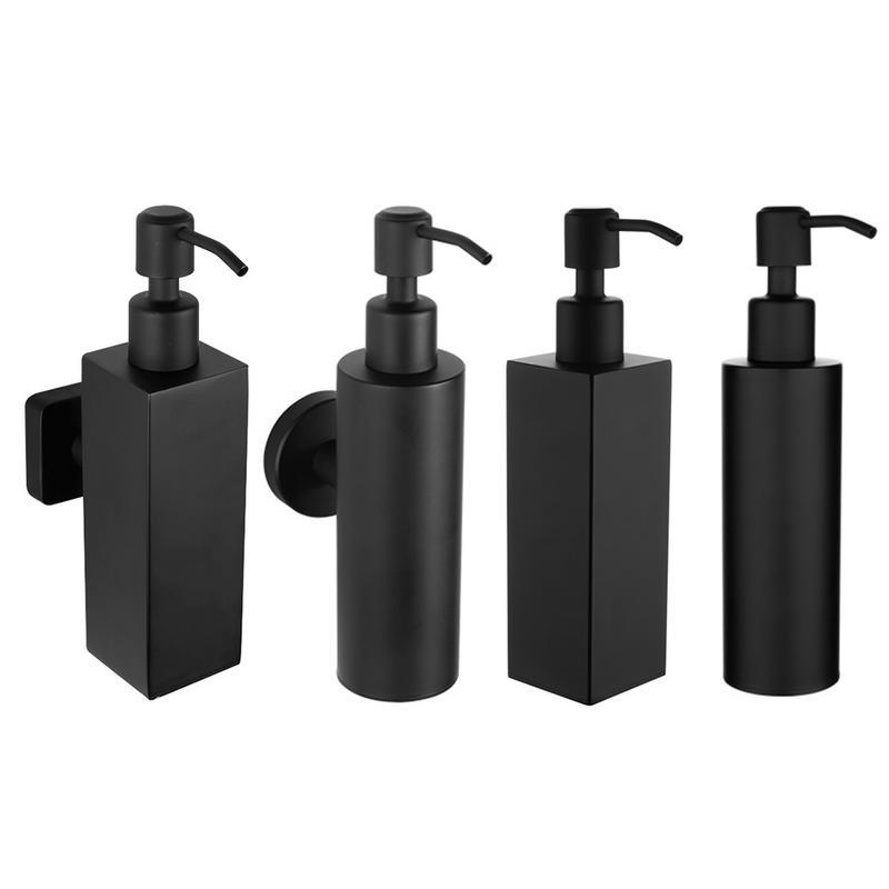 New 200ML High Quality Stainless Steel Black Bathroom Soap Dispenser Shampoo Bottle Wall Holder