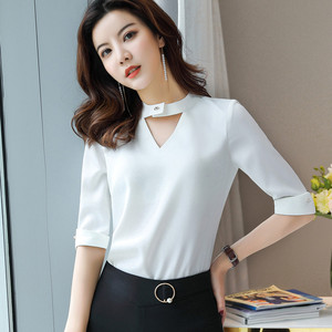 Image 3 - Chiffon Shirt Women 2019 Summer New Fashion Clothes Temperament Slim V Neck Half Sleeve Blouses Office Lady Loose Business Tops