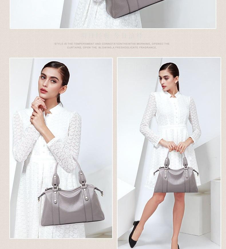 Cuir noir Pour 2018 1201 Mode Main Souple Couche De Nouvelle Sacs En À Tête Femmes Grey Femme Sac Vache Bandoulière Rivet RwTR0qB