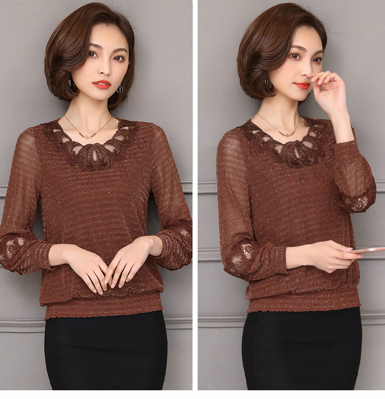 2019 spring winter Plus size Women clothing lace   Shirt   Tops Cutout basic female Elegant long-sleeve Lace   Blouses     shirts   5XL 952F