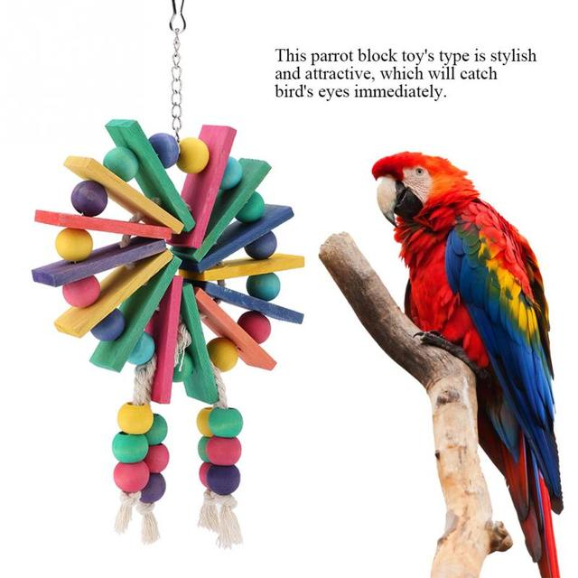 New Style Pet Parrot Toys Wooden Hanging Cage Toys for Parrots Bird  Funny Hanging Standing Toy Pet Bird Training Supplies