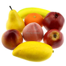 Gresorth Fake Mixed Fruit Decoration Artificial Lifelike Orange Peach Apple Banana Pear Pomegranate Mango - 8 Fruits