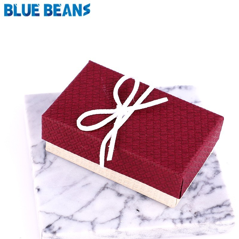 New 1pc Square Jewelry Organizer Box Engagement Ring For Earrings Necklace Bracelet Display Gift Box Holder Black Red White Navy