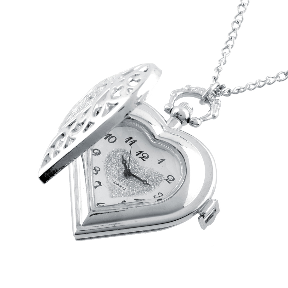 Silver Color Metal Pocket Quartz Watch Fashion Casual Heart Shaped Pocket Watch Necklace Gift Unisex