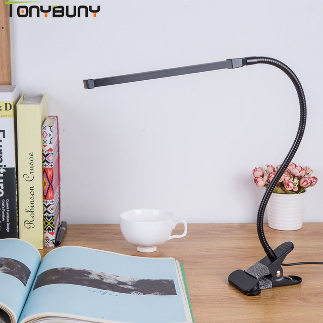 Protect Led Table Lamp Study Bendable Desk Clamp Clip Light Office Dimmable Usb Touch Switch