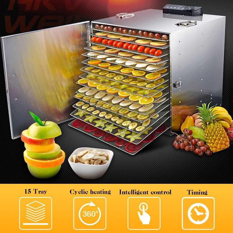 Warmtoo 220 V 1000 W profesional 15 bandeja eléctrica deshidratador de alimentos de comida de acero inoxidable carne de fruta secadora vegetal deshidratador