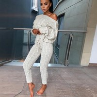 Women Winter Twist Knitted 2 Piece Set Long Sleeve Pullover Sweater Pencil Pants Set Knitting Lounge Suit