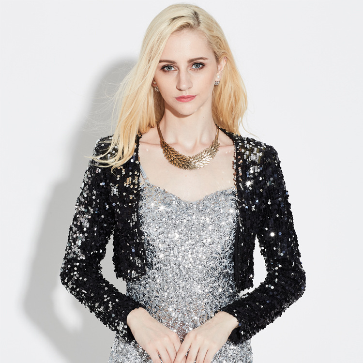 Sexy Women Sequin Cardigan Jacket Coat Long Sleeve Sequined Short Cropped Clubwear Vintage Party Costumes