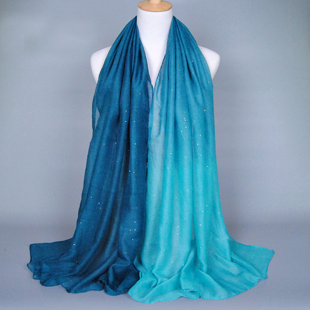 Women Fashion Soft Voile Scarves Gradient Color Shade Pashmina Long Scarf Stole Shawl Wrap