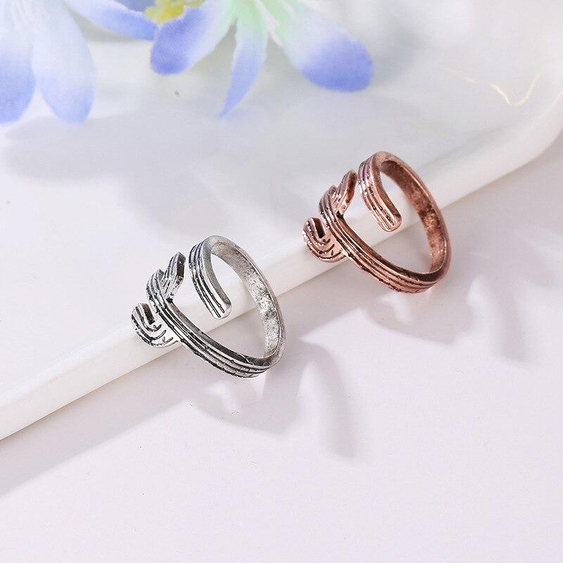 Ehrlichkeit Silikolove Mode Legierung Öffnung Engagement Ringe Für Frauen Silber Einstellbare Kaktus Knuckle Ring Bague Femme Hitze Und Durst Lindern. Verlobungsringe