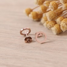 Badu DIY Wholesale Trendy Rose Gold Color Earrings Fashion Small Round Stud For Women Fine Jewelry