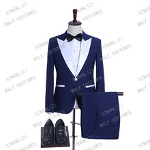 Dark Blue Men Suits With Pants White Peaked Lapel 2 Piece Set Suit 2019 Designers Prom Suits Men Tuxedo Wedding Suits For Men(China)