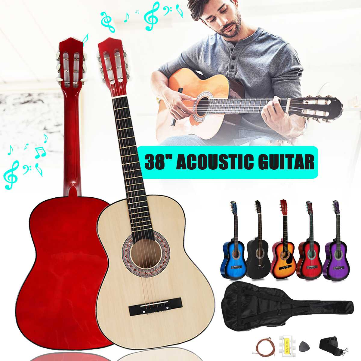 6 Color 38 Inch Modern Wooden Folk Acoustic Guitarra Bass Guitar Ukulele With Case Bag For Musical Instruments Lover(China)