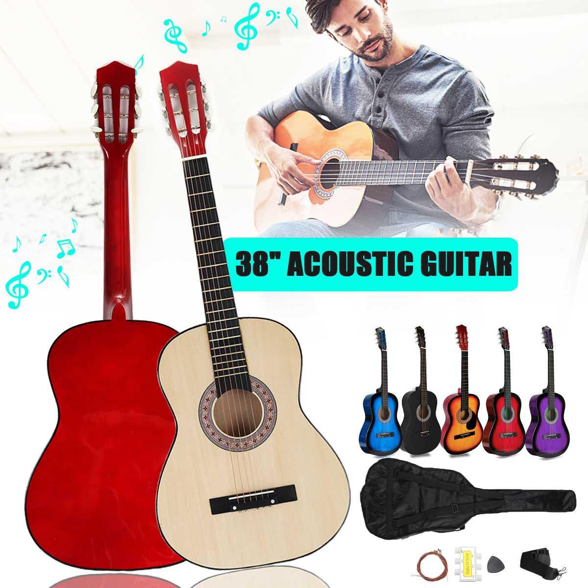 6 couleur 38 pouces moderne en bois Folk acoustique Guitarra guitare basse ukulélé avec étui sac pour amoureux des Instruments de musique