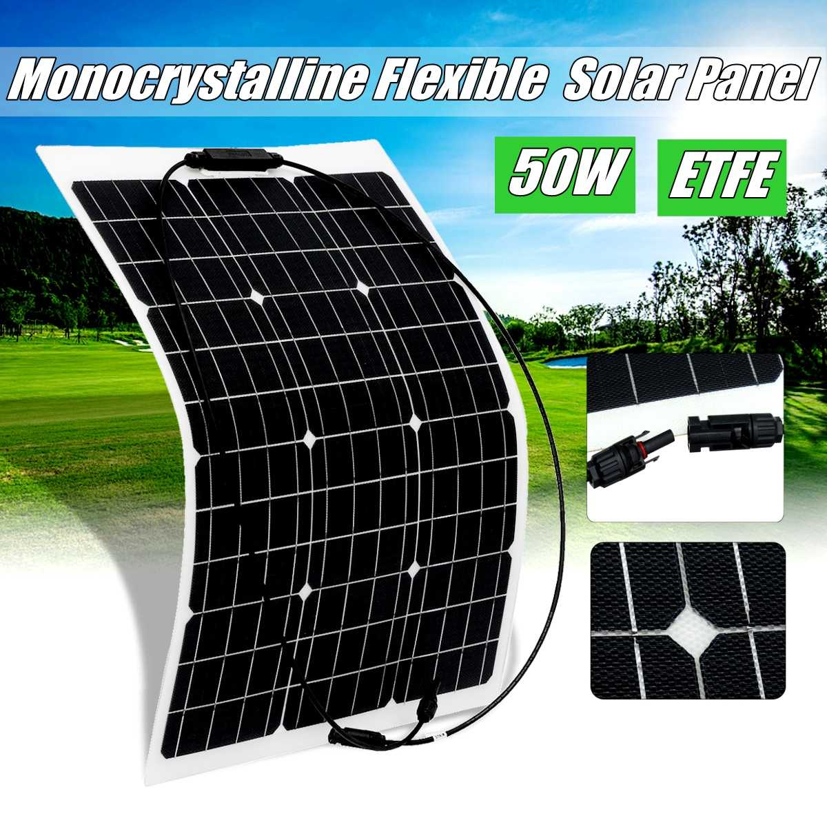 Semi-Flexible Solar Panel 18V 50W Solar Charger For 12V Car Battery ETFE Monocrystalline Cells For Hause,boat,roof Cable image