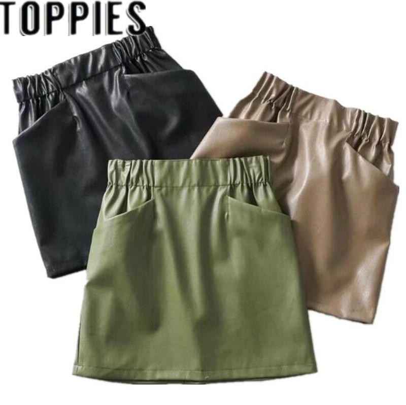 2019 Women PU Leather Elastic Waist Short Skirt With Pockets Vintage Faux Leather Mini Skirts