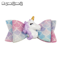 ncmama Hair Accessories Glitter Bows for Girls with Clips Cute Swallowtail Unicorn Hairgrips Barrettes Kids