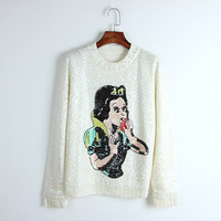 Cartoon Girl Pattern Sweater 2018 New Autumn Winter Jumper Women Sweater Sequins Beading Pullover Knit Top Runway Jersey