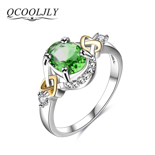 QCOOLJLY 2017 Silver Color Rings Elegant Crystal Statement Ring anillos mujer Lo