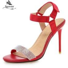 Sgesvier Women's sandals High heels Ladies summer shoes Buckle PU Rubber Crystal Thin heel Sandals Black Big size 31-46 G344