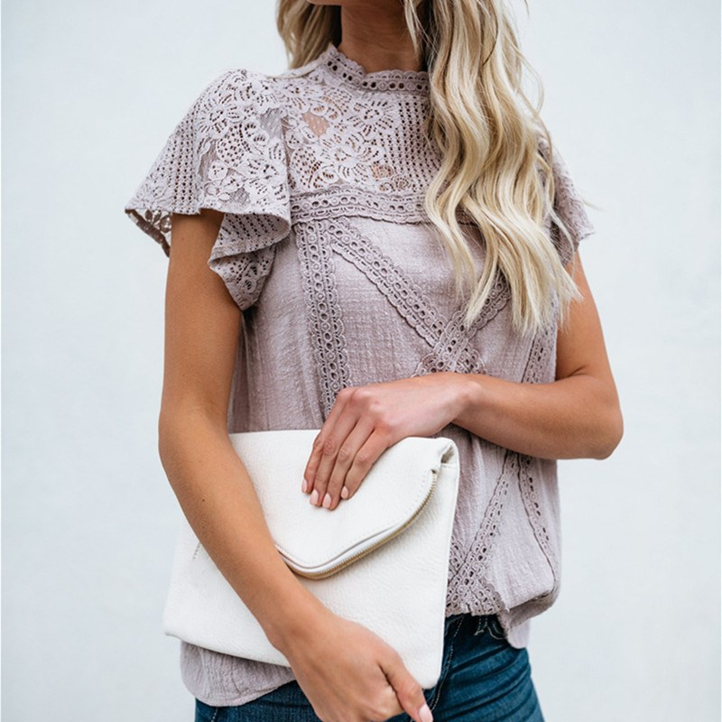 Sexy White Lace   Blouse     Shirt   Women Fashion Short Sleeve Female   Blouses   Casual Summer Hollow Out Tops Blusas