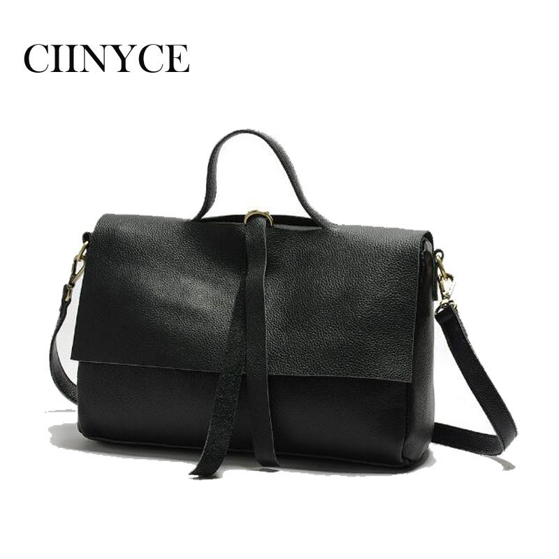 female Women's 100% genuine leather handbags crossbody for women shoulder bags Real Soft Skin Black bolsa feminina Tote women genuine leather casual real cowhide tote bags vintage soft small trunk shoulder handbags solid tassels bolsa feminina