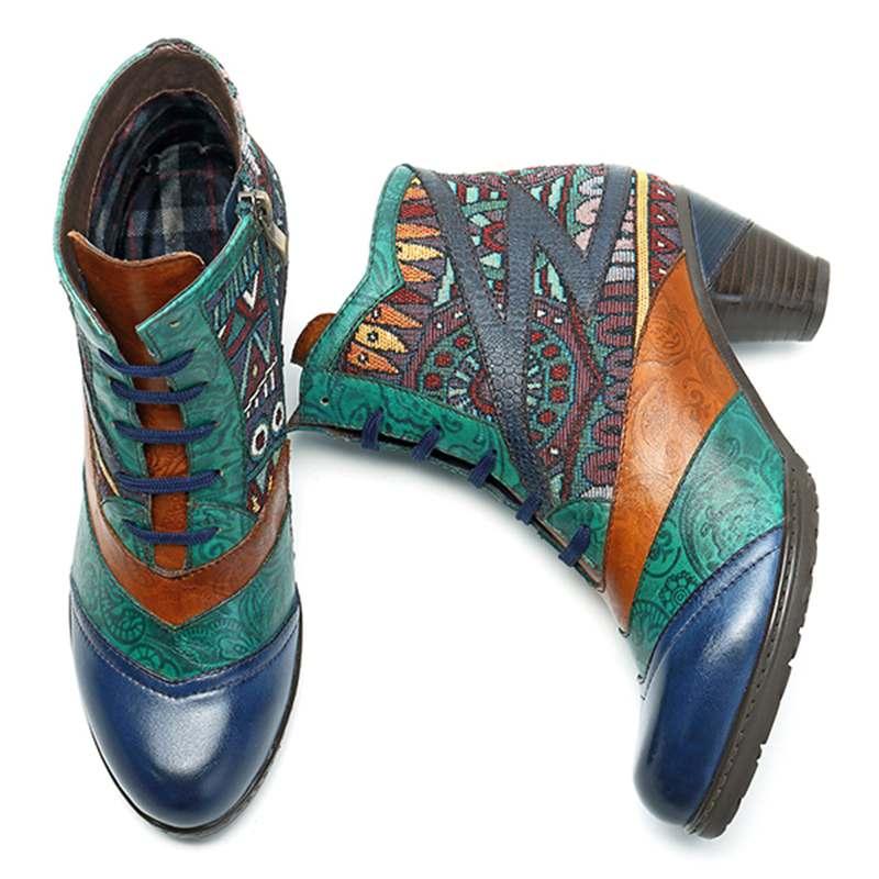 نيش البوهيمي الكاحل الشتاء أحذية حريمي برقبة خمر حقيقية أحذية من الجلد امرأة سستة/الدانتيل يصل كتلة عالية الكعب الجوارب بوتاس-في أحذية الكاحل من أحذية على  مجموعة 2
