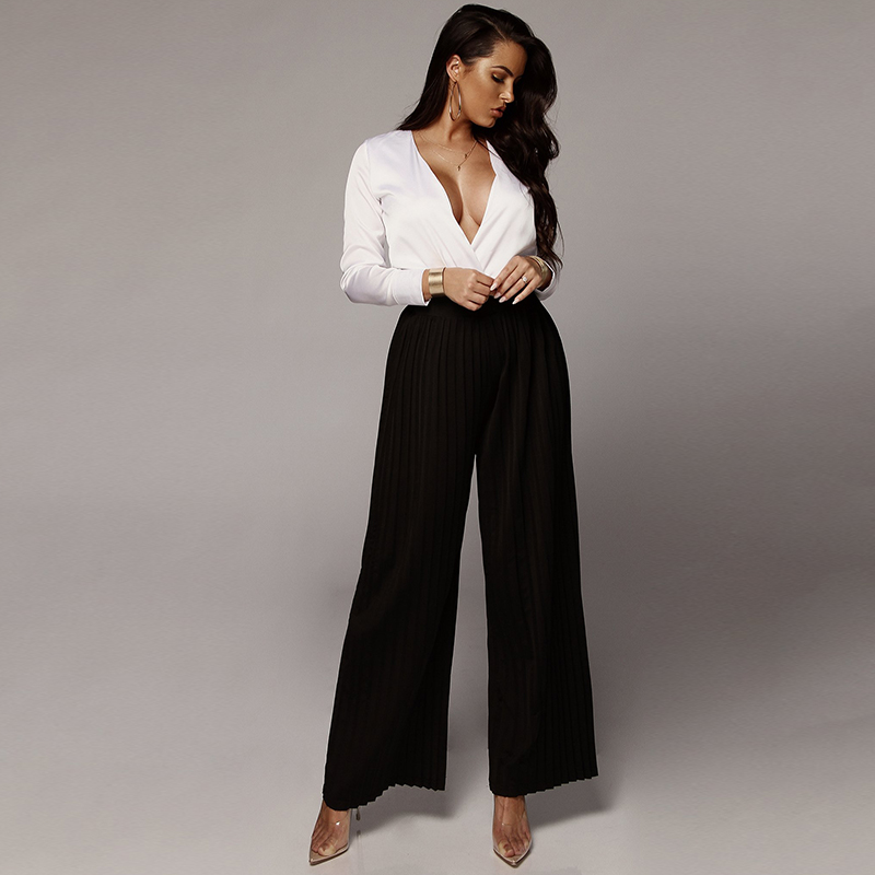 2019 New Arrival Pleated Long   Pants   for Women Solid Elastic Band High Waist   Pants   Fashion Casual Tube   Wide     Leg     Pants   Trousers