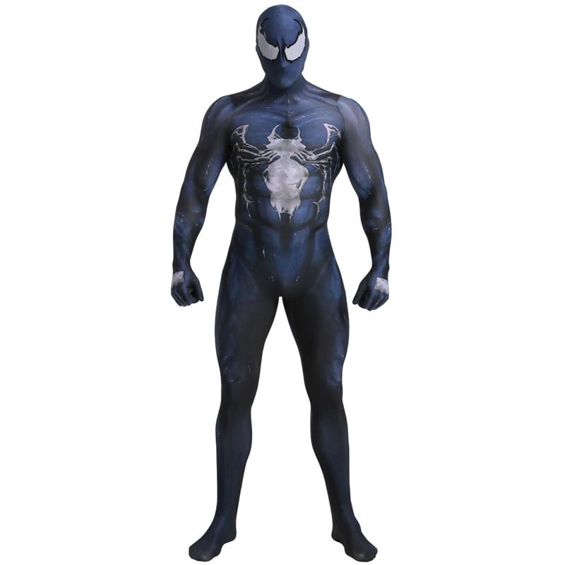 Marvel Superhero Zentai Spiderman Simbionte Veneno Skin Tight Ternos Macacão Traje Cosplay Dia Das Bruxas