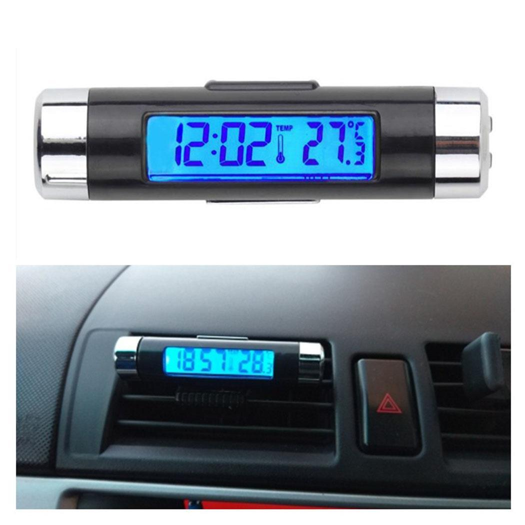 Digital car clock LCD Temperature Thermometer Clock 2 in 1 Car Time Air Vent Outlet Clip On