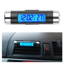 Digital car clock LCD Temperature Thermometer Clock 2 in 1 Car Digital Time Clock Air Vent Outlet Clip On clock in car onewell high quality 3in1 digital lcd clock screen car auto vehicle time clock thermometer voltage two color luminous
