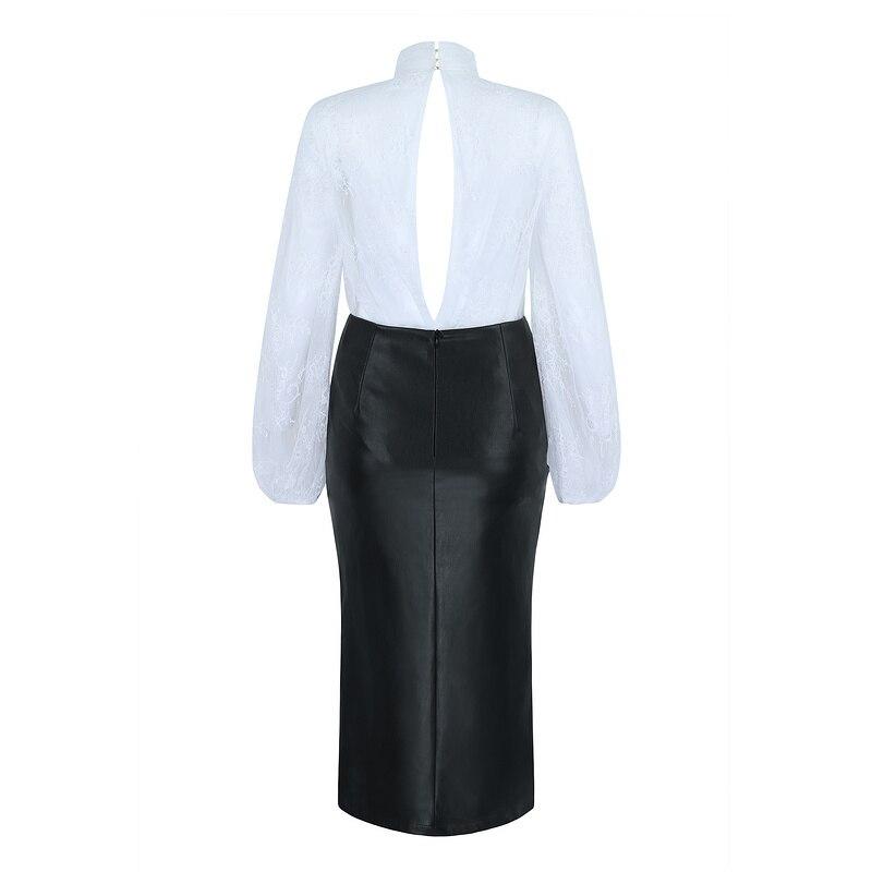 Femmes Cuir Haute Pièces Tops Jupe Blanc Longues Qualité Élégant Ouvert Dentelle Manches Fourche En À De Robe 2 Soirée pqrxCp