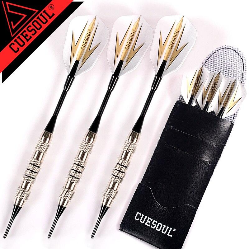 CUESOUL 3db professzionális Dardos 17g puha darts elektronikus puha tipp alumínium tengellyel dart tábla játékokhoz Arany fekete járatok
