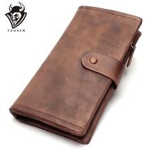 Cartera de diseñador Vintage con diseño pintado a mano para mujer, cartera femenina con tarjetero extraíble, con cierre de Metal, billetera organizadora larga