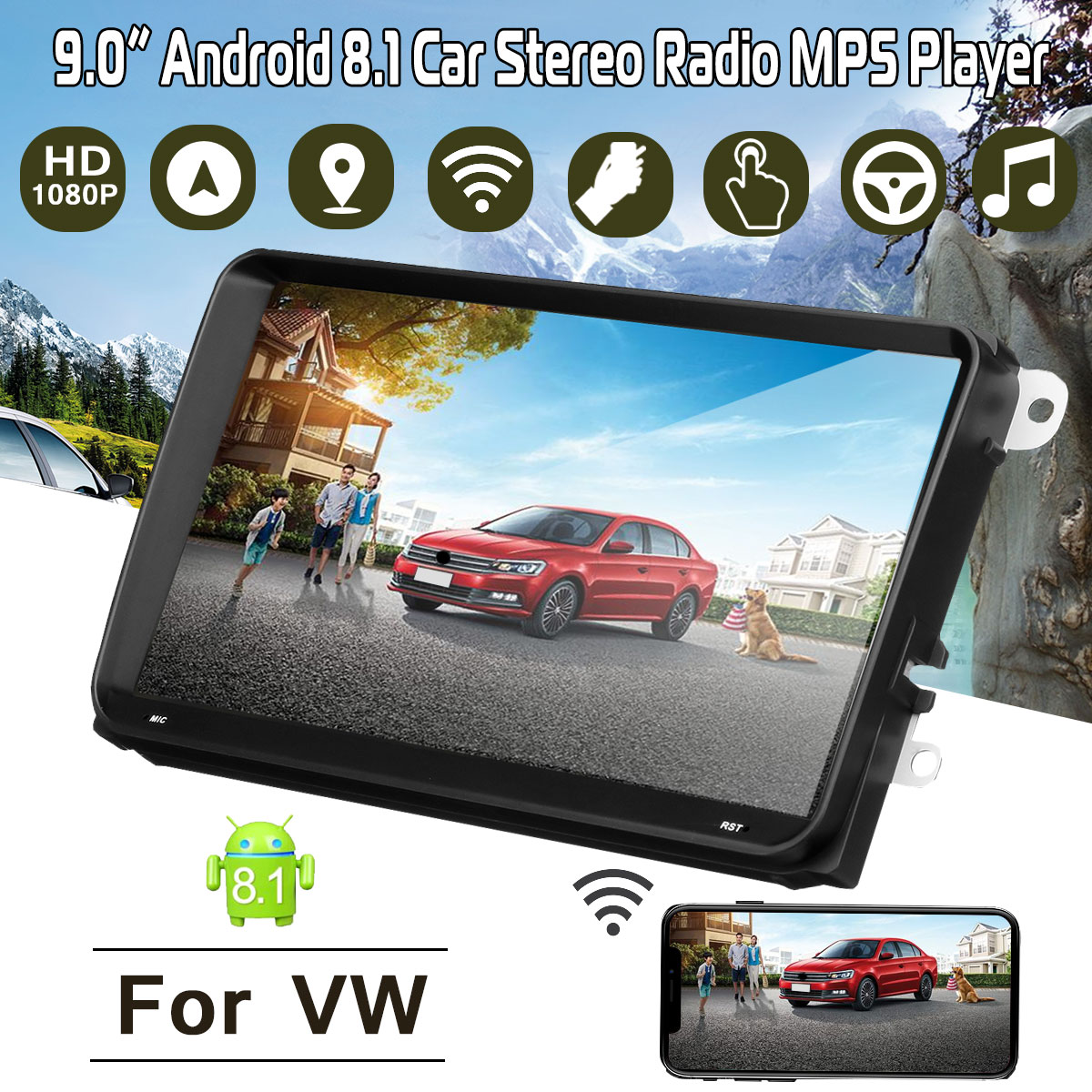 "Car Radio Multimedia 9"" Android 8.1 car dvd audio stereo player Navigation for For VW wifi GPS RDS Stereo Radio MP5 Player"
