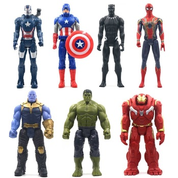 30cm Marvel Avengers Toys Thanos Hulk Buster Spiderman Iron Man Captain America Thor Wolverine Black Panther Action Figure Dolls the avengers arrow cufflinks marvel captain america thor batman iron man deadpool charm personality shirt brand cuff button gift