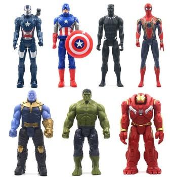 30cm Marvel Avengers zabawki Thanos Hulk Buster Spiderman Iron Man kapitan ameryka Thor Wolverine czarna pantera figurka lalki tanie i dobre opinie Disney Model Gotowy żołnierzyk Wyroby gotowe Unisex Zachodnia animacja PIERWSZA EDYCJA 3 lat Produkty na stanie Film i telewizja