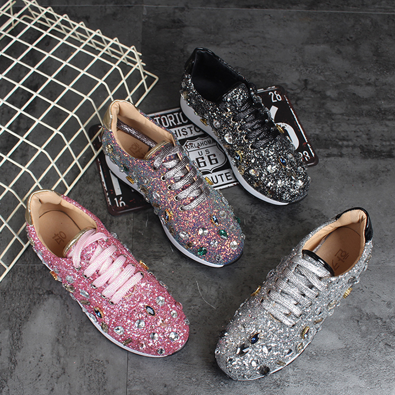 RUIYEE Women flat shoes rhinestone shoes white shoes brand sports shoes casual slide shoes Sneakers women 2019 spring new