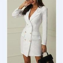 b17b8dba4beb7 Blanco señoras chaqueta vestido de las mujeres abrigos de invierno traje  Sexy de fiesta manga larga Mujer blazer botón chica cha.