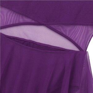 Image 5 - Robe asymétrique sans manches découpée devant, maille asymétrique, pour le Ballet, justaucorps, gymnastique, vêtements de performance pour le Ballet