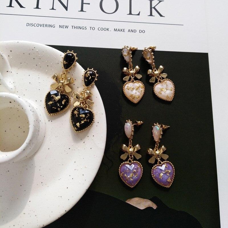 Baroque Vintage Crystal Heart Earrings Women Shape Wedding Gift Earring Black/Pink