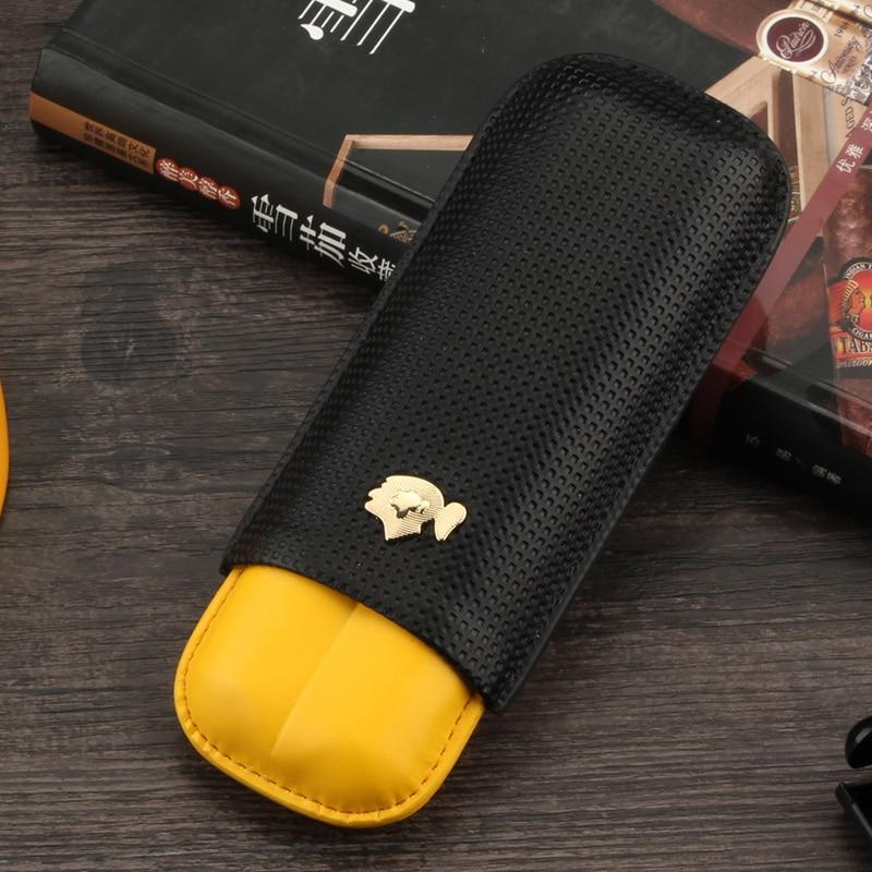 COHIBA Leather Cigar Case Humidor Portable Pocket 2 Tube Holder Travel Cigar Humidor Box Storage Cigars Accessories W/ Gift Box